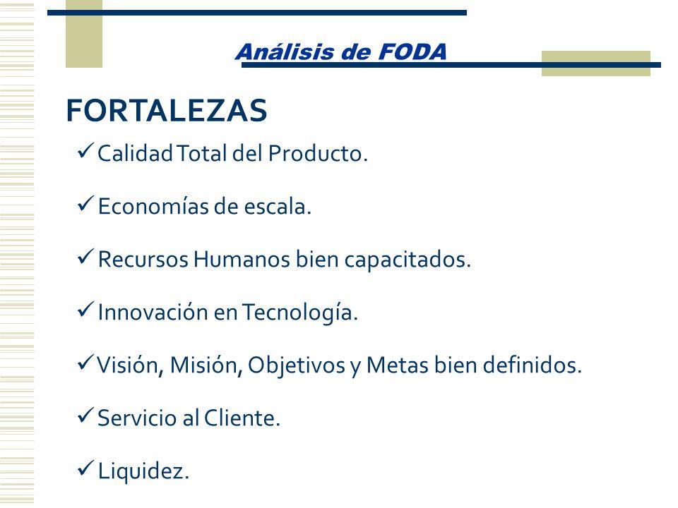 Análisis de FODA Calidad Total del Producto. Economías de escala. Recursos Humanos bien capacitados. Innovación en Tecnología. Visión, Misión, Objetiv