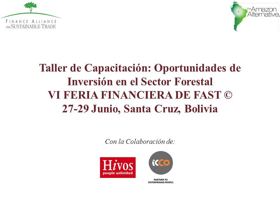 Taller de Capacitación: Oportunidades de Inversión en el Sector Forestal VI FERIA FINANCIERA DE FAST © 27-29 Junio, Santa Cruz, Bolivia Con la Colabor