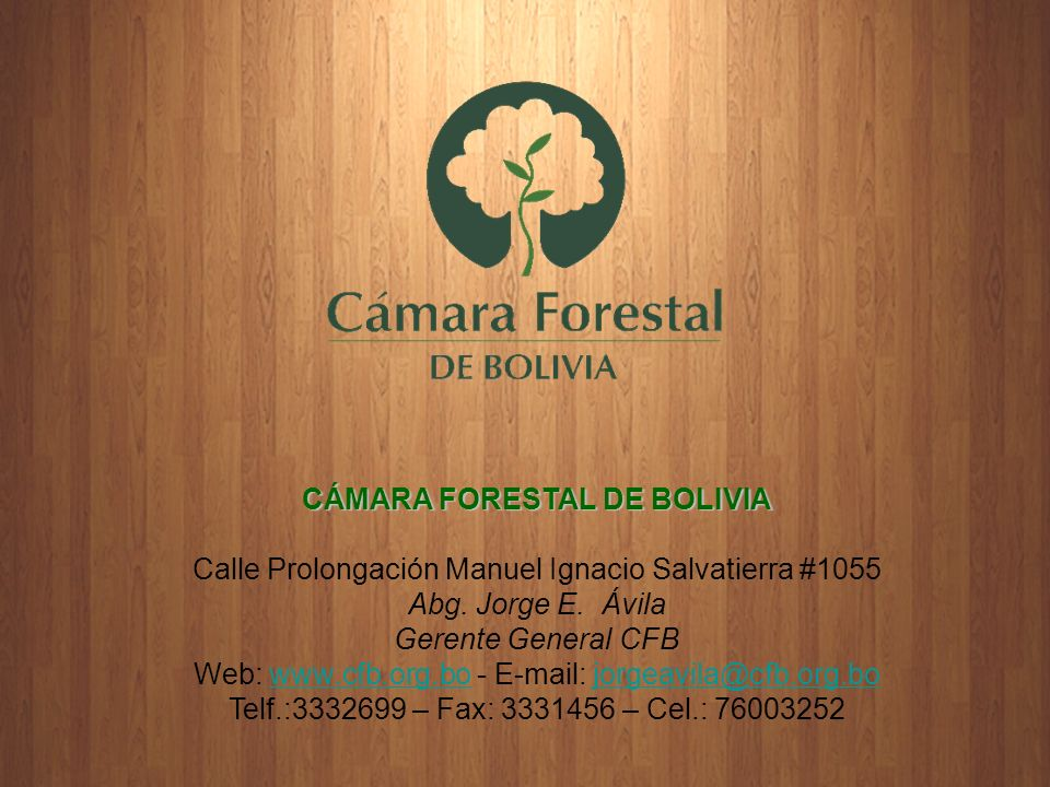 CÁMARA FORESTAL DE BOLIVIA Calle Prolongación Manuel Ignacio Salvatierra #1055 Abg. Jorge E. Ávila Gerente General CFB Web: www.cfb.org.bo - E-mail: j