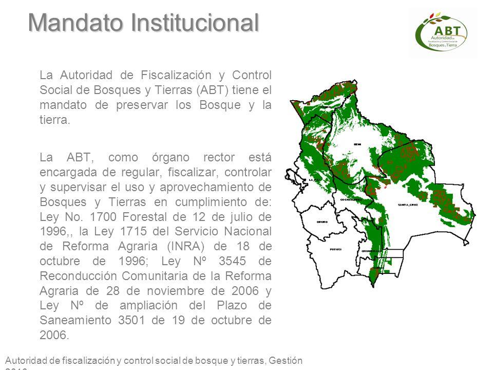 Autoridad de fiscalización y control social de bosque y tierras, Gestión 2010 Mandato Institucional La Autoridad de Fiscalización y Control Social de