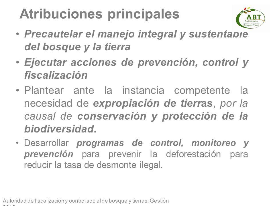 Autoridad de fiscalización y control social de bosque y tierras, Gestión 2010 Atribuciones principales Precautelar el manejo integral y sustentable de