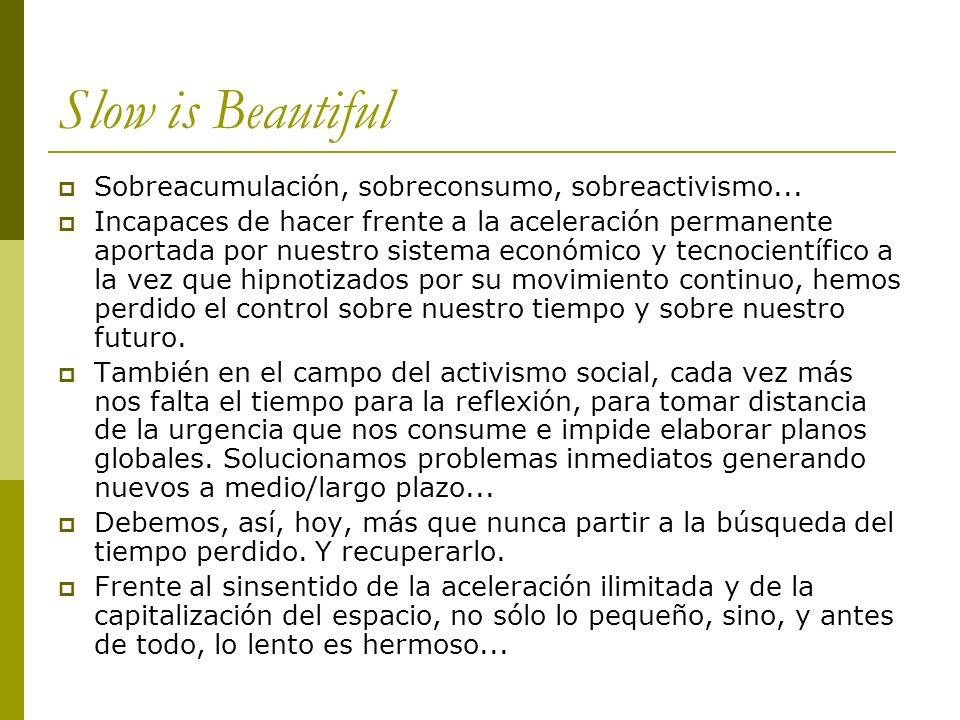 Slow is Beautiful Sobreacumulación, sobreconsumo, sobreactivismo...