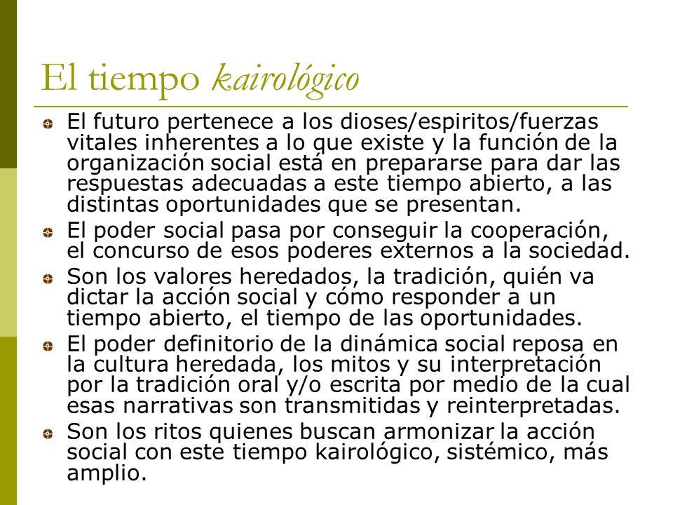 El tiempo kairológico El futuro pertenece a los dioses/espiritos/fuerzas vitales inherentes a lo que existe y la función de la organización social está en prepararse para dar las respuestas adecuadas a este tiempo abierto, a las distintas oportunidades que se presentan.