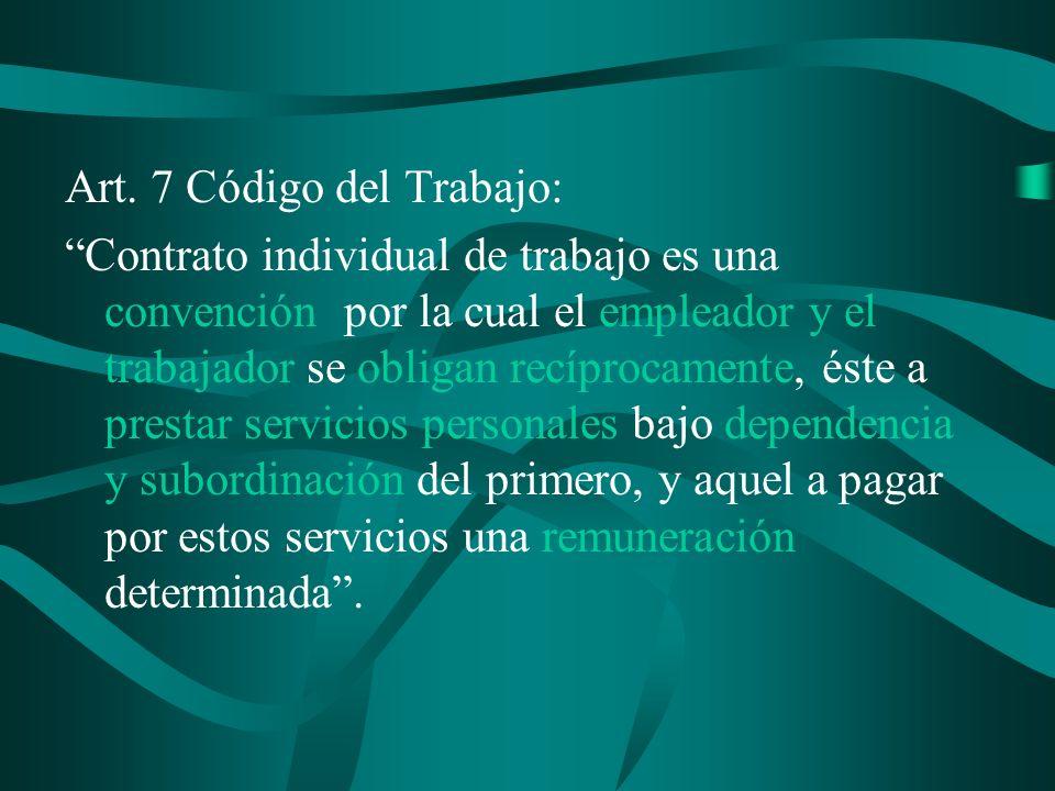 Art. 7 Código del Trabajo: Contrato individual de trabajo es una convención por la cual el empleador y el trabajador se obligan recíprocamente, éste a