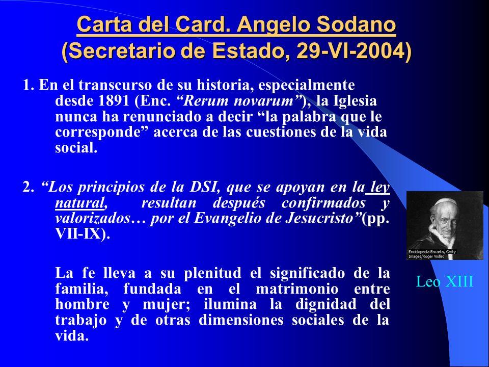 CONTENIDO -Carta del Card. Sodano (Secretario de Estado-2004) -Presentación (Card. Martino) -Introducción (nn.1-19) I PARTE CAP. I DESIGNIO DEL AMOR D