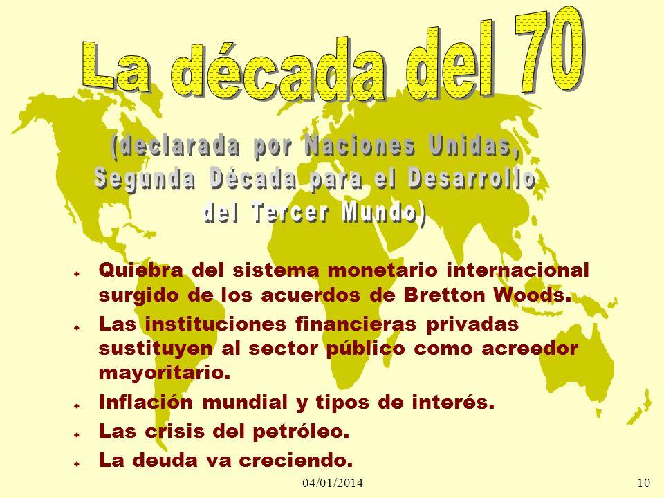 04/01/201410 u Quiebra del sistema monetario internacional surgido de los acuerdos de Bretton Woods. u Las instituciones financieras privadas sustituy