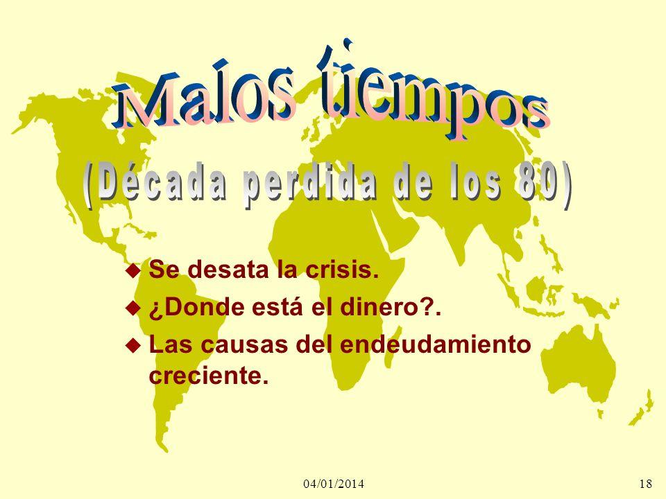 04/01/201418 u Se desata la crisis. u ¿Donde está el dinero?. u Las causas del endeudamiento creciente.
