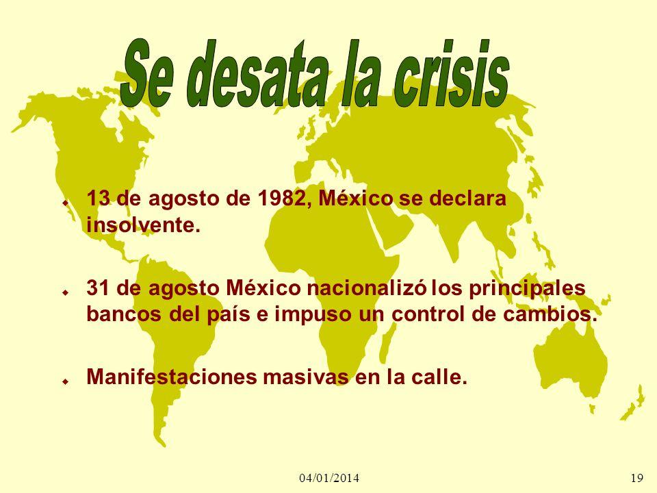04/01/201419 u 13 de agosto de 1982, México se declara insolvente. u 31 de agosto México nacionalizó los principales bancos del país e impuso un contr