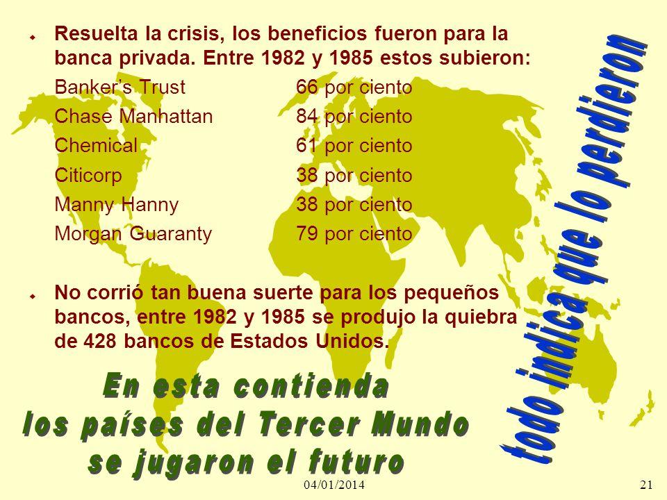 04/01/201421 u Resuelta la crisis, los beneficios fueron para la banca privada. Entre 1982 y 1985 estos subieron: Bankers Trust66 por ciento Chase Man