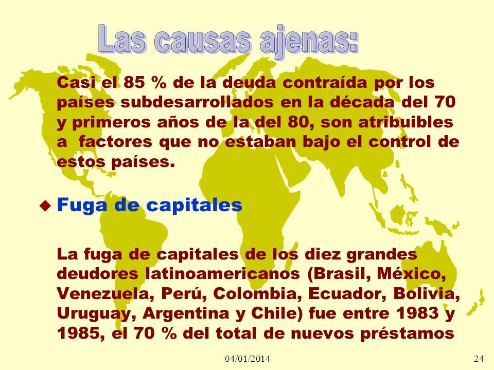 04/01/201424 Casi el 85 % de la deuda contraída por los países subdesarrollados en la década del 70 y primeros años de la del 80, son atribuibles a fa