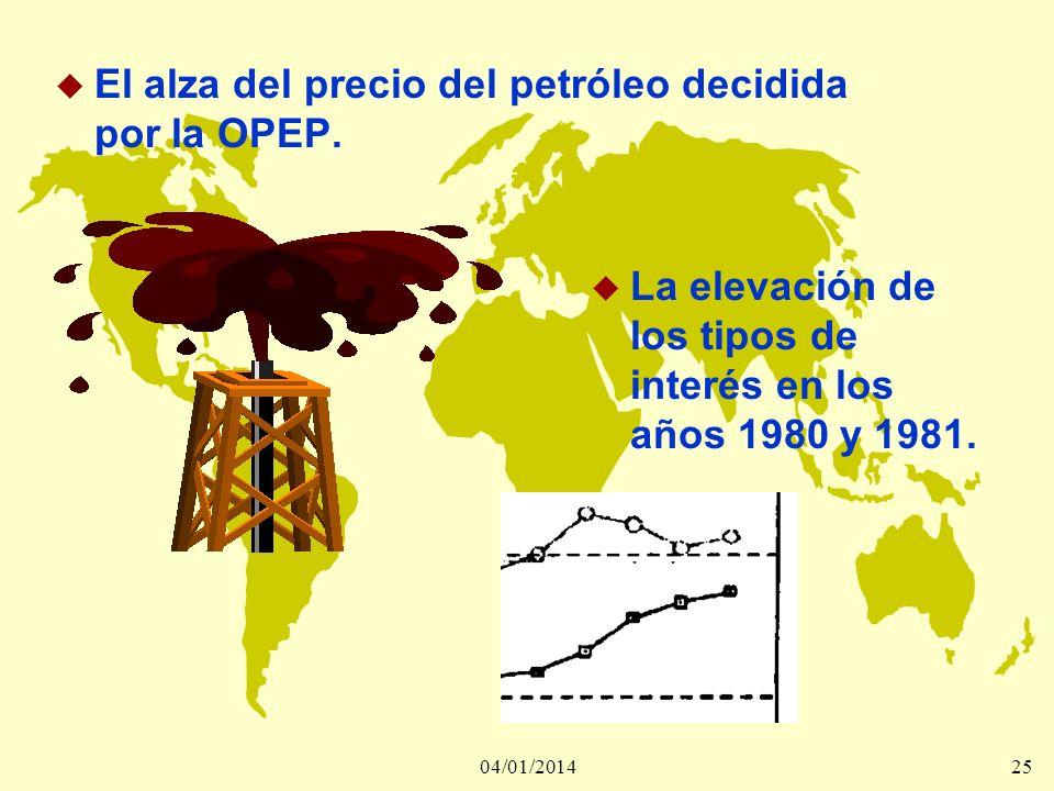 04/01/201425 u El alza del precio del petróleo decidida por la OPEP. u La elevación de los tipos de interés en los años 1980 y 1981.