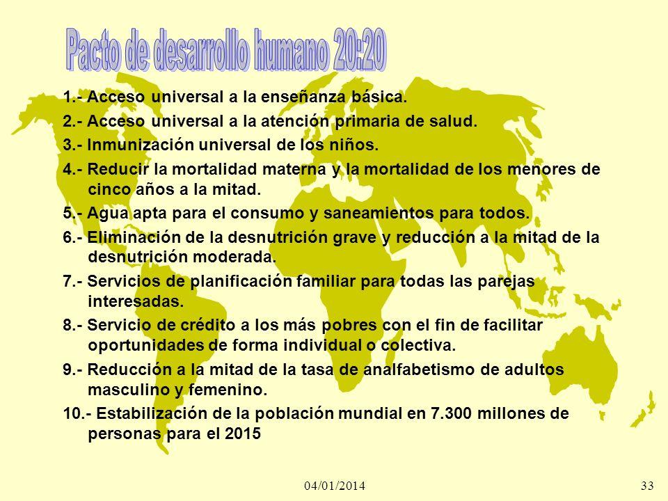 04/01/201433 1.- Acceso universal a la enseñanza básica. 2.- Acceso universal a la atención primaria de salud. 3.- Inmunización universal de los niños