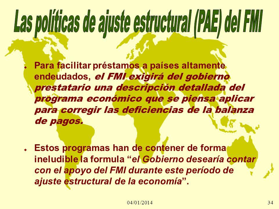 04/01/201434 Para facilitar préstamos a países altamente endeudados, el FMI exigirá del gobierno prestatario una descripción detallada del programa ec