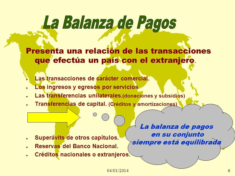 04/01/20146 Presenta una relación de las transacciones que efectúa un país con el extranjero. u Las transacciones de carácter comercial. u Los ingreso