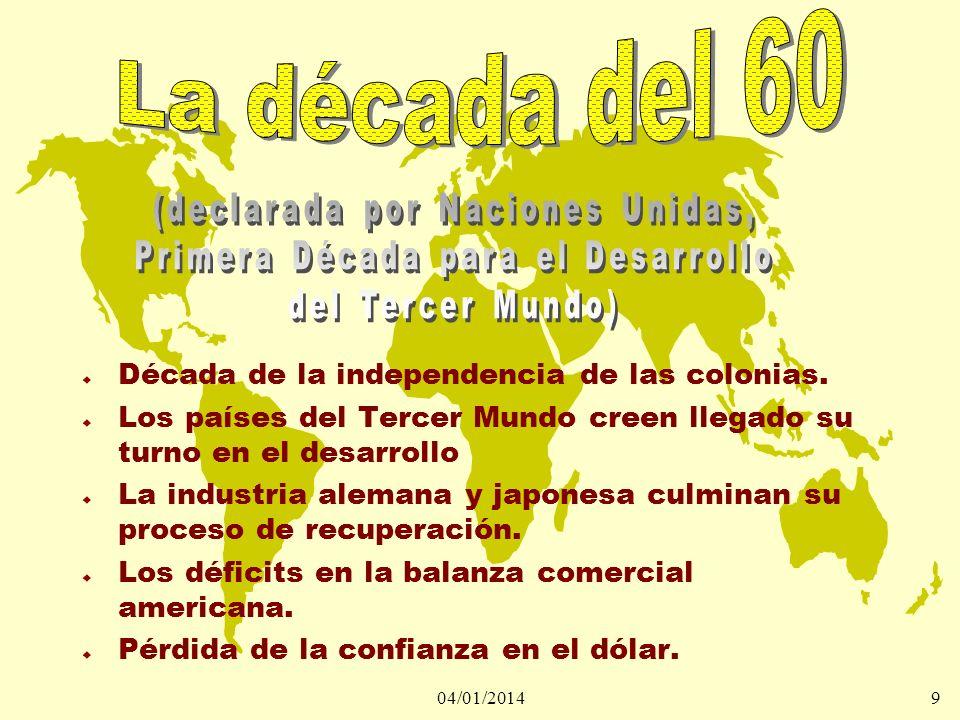 04/01/20149 u Década de la independencia de las colonias. u Los países del Tercer Mundo creen llegado su turno en el desarrollo u La industria alemana