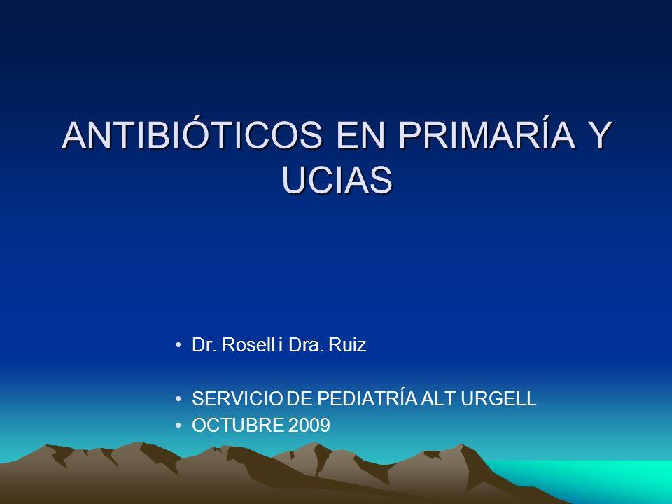 ANTIBIÓTICOS EN PRIMARÍA Y UCIAS Dr. Rosell i Dra. Ruiz SERVICIO DE PEDIATRÍA ALT URGELL OCTUBRE 2009