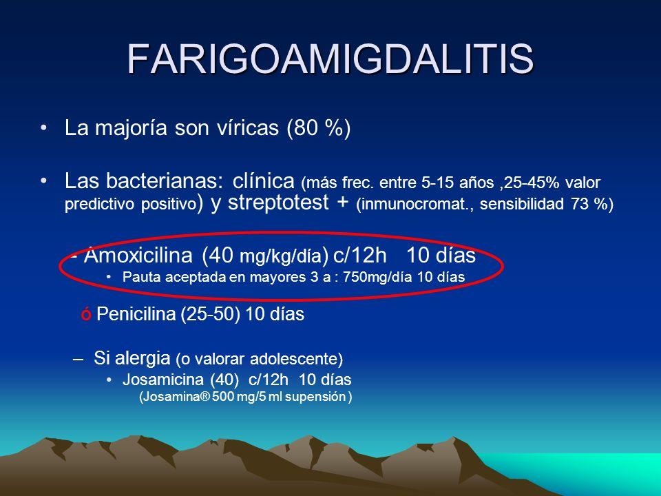 FARIGOAMIGDALITIS La majoría son víricas (80 %) Las bacterianas: clínica (más frec. entre 5-15 años,25-45% valor predictivo positivo ) y streptotest +
