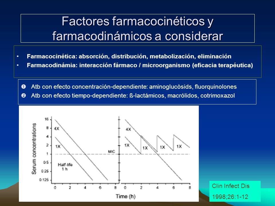 Factores farmacocinéticos y farmacodinámicos a considerar Farmacocinética: absorción, distribución, metabolización, eliminación Farmacodinámia: intera