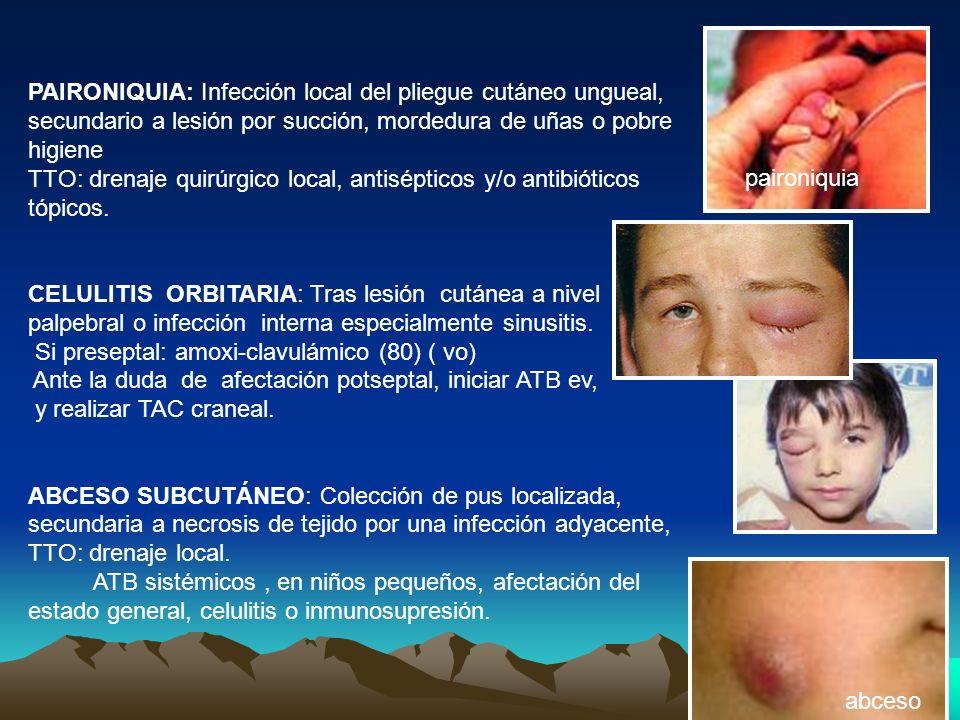 PAIRONIQUIA: Infección local del pliegue cutáneo ungueal, secundario a lesión por succión, mordedura de uñas o pobre higiene TTO: drenaje quirúrgico l