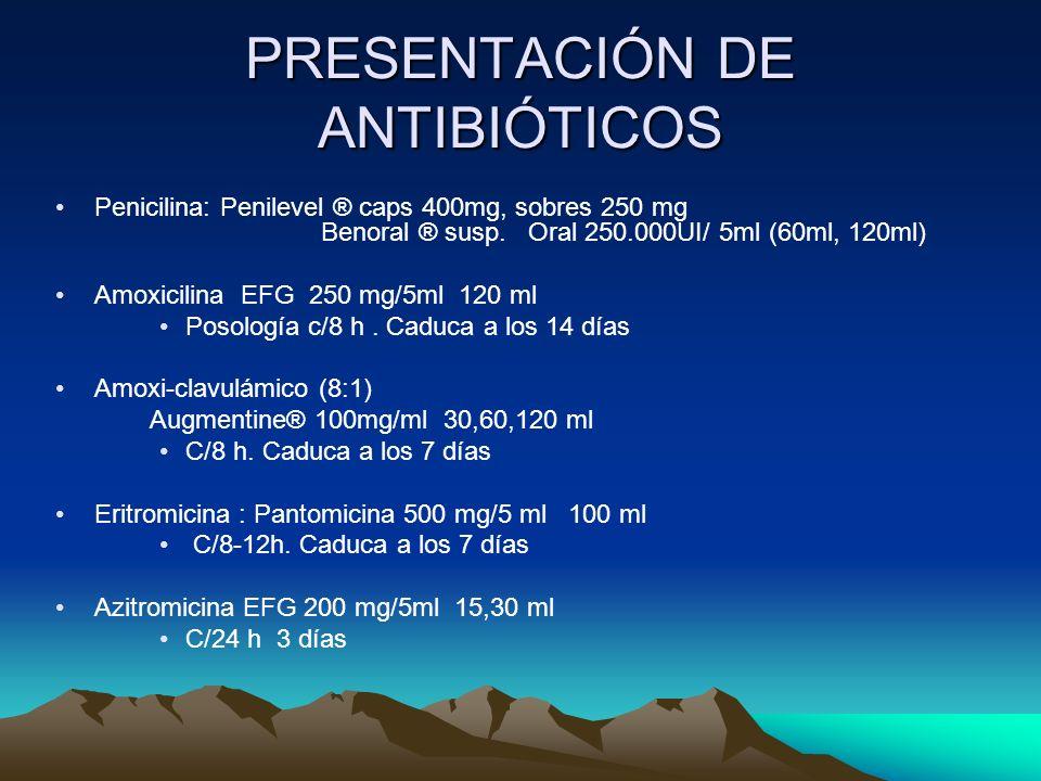PRESENTACIÓN DE ANTIBIÓTICOS Penicilina: Penilevel ® caps 400mg, sobres 250 mg Benoral ® susp. Oral 250.000UI/ 5ml (60ml, 120ml) Amoxicilina EFG 250 m