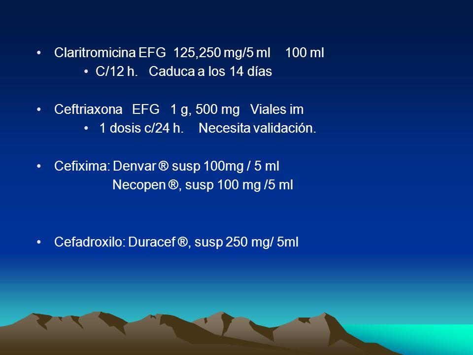 Claritromicina EFG 125,250 mg/5 ml 100 ml C/12 h. Caduca a los 14 días Ceftriaxona EFG 1 g, 500 mg Viales im 1 dosis c/24 h. Necesita validación. Cefi