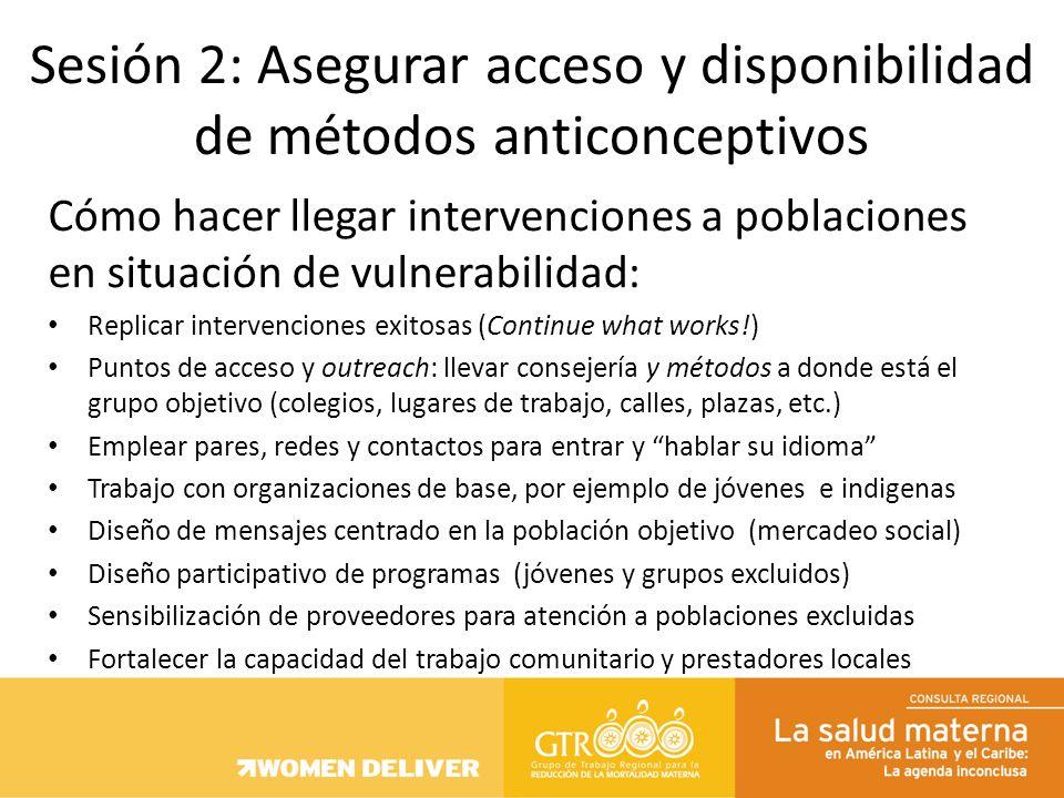Cómo hacer llegar intervenciones a poblaciones en situación de vulnerabilidad: Replicar intervenciones exitosas (Continue what works!) Puntos de acces