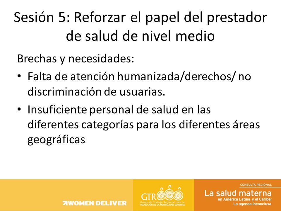 Brechas y necesidades: Falta de atención humanizada/derechos/ no discriminación de usuarias. Insuficiente personal de salud en las diferentes categorí