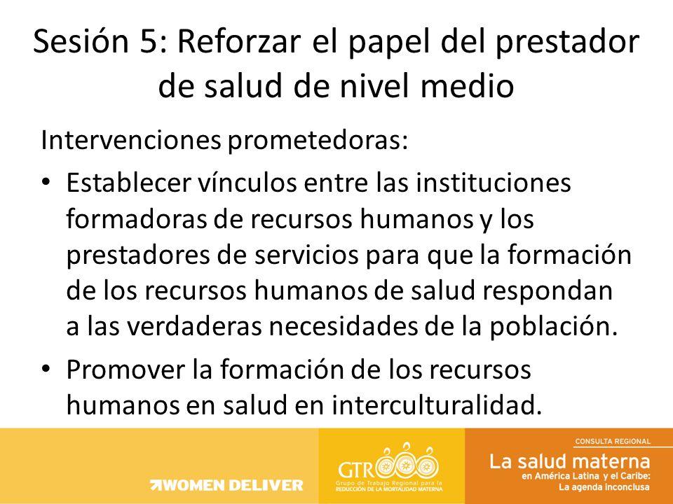 Intervenciones prometedoras: Establecer vínculos entre las instituciones formadoras de recursos humanos y los prestadores de servicios para que la for