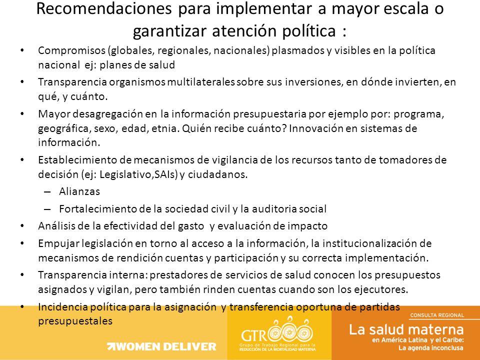 Compromisos (globales, regionales, nacionales) plasmados y visibles en la política nacional ej: planes de salud Transparencia organismos multilaterale