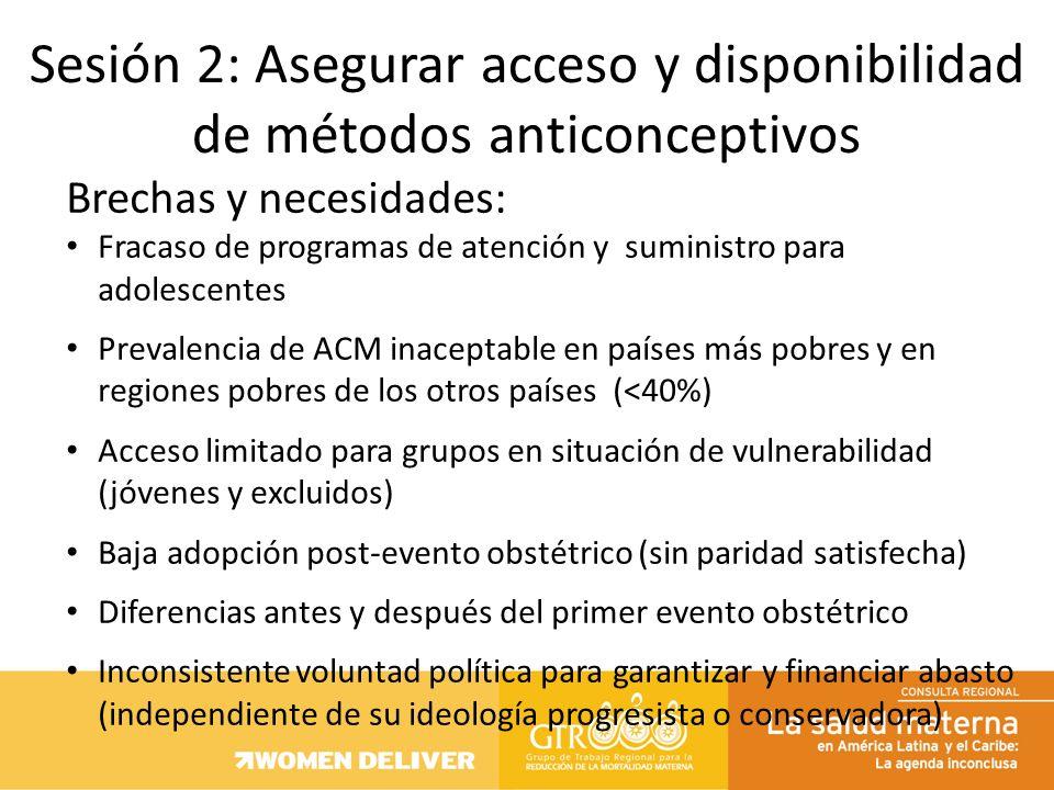 Brechas y necesidades: Fracaso de programas de atención y suministro para adolescentes Prevalencia de ACM inaceptable en países más pobres y en region