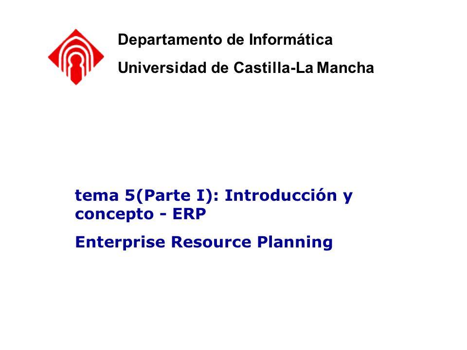 Elección de un ERP – Criterios y Costes de I ERP - Enterprise Resource Planning ROI - Retorno de la inversión Departamento de Informática Universidad de Castilla-La Mancha