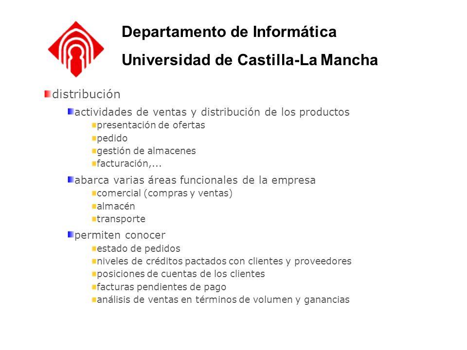 distribución actividades de ventas y distribución de los productos presentación de ofertas pedido gestión de almacenes facturación,... abarca varias á