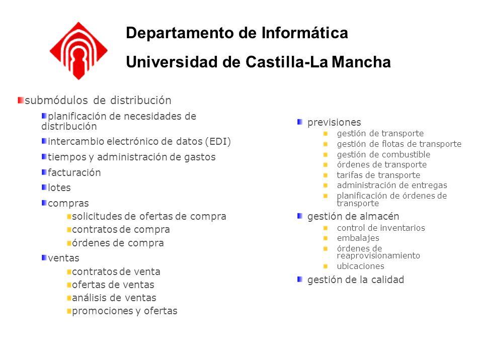 submódulos de distribución planificación de necesidades de distribución intercambio electrónico de datos (EDI) tiempos y administración de gastos fact