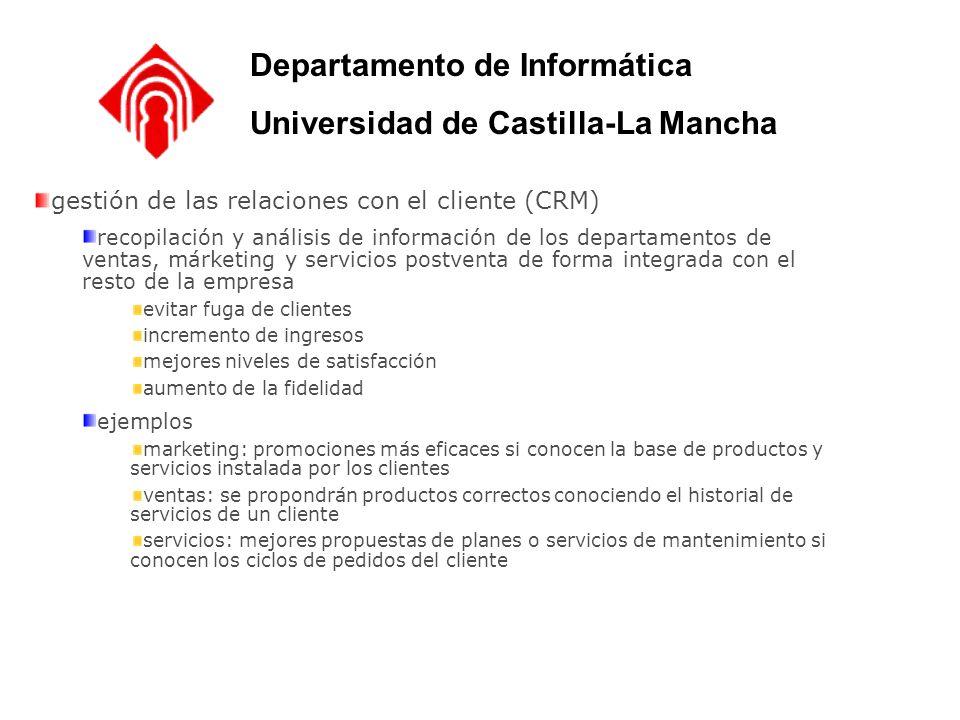gestión de las relaciones con el cliente (CRM) recopilación y análisis de información de los departamentos de ventas, márketing y servicios postventa