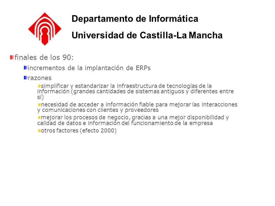 finales de los 90: incrementos de la implantación de ERPs razones simplificar y estandarizar la infraestructura de tecnologías de la información (gran