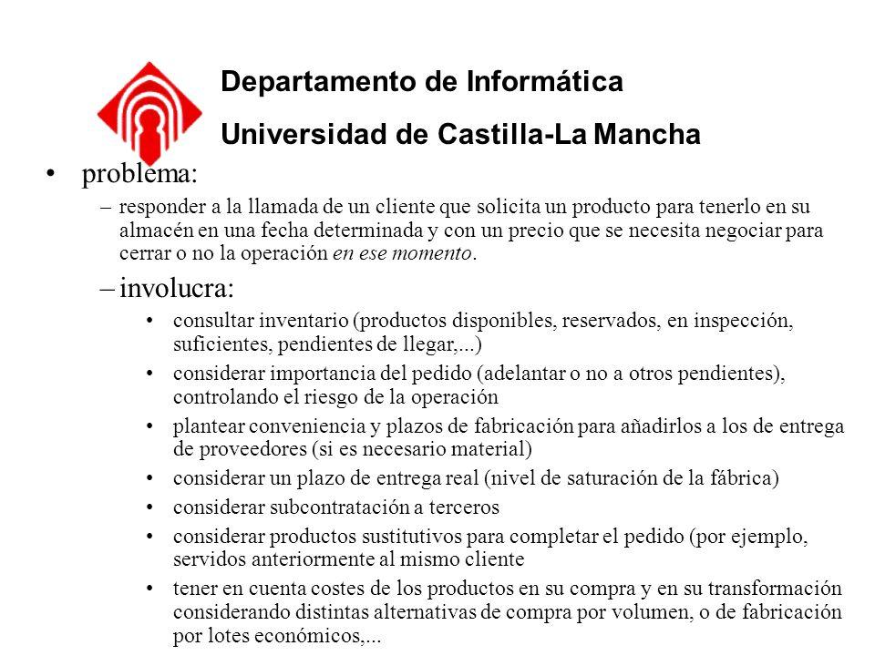 Departamento de Informática Universidad de Castilla-La Mancha problema: –responder a la llamada de un cliente que solicita un producto para tenerlo en