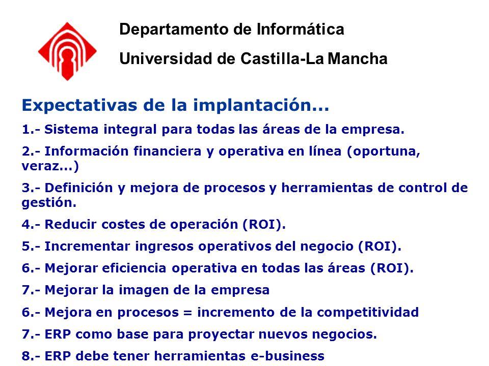 Expectativas de la implantación... 1.- Sistema integral para todas las áreas de la empresa. 2.- Información financiera y operativa en línea (oportuna,