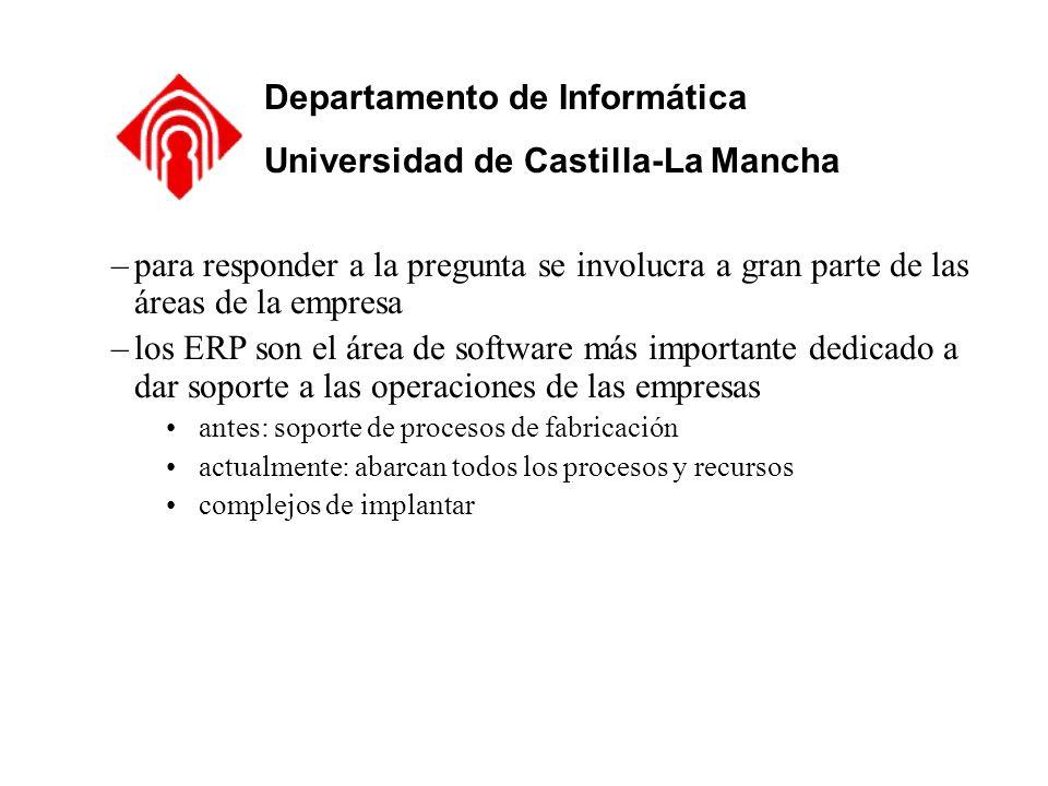 Departamento de Informática Universidad de Castilla-La Mancha –para responder a la pregunta se involucra a gran parte de las áreas de la empresa –los