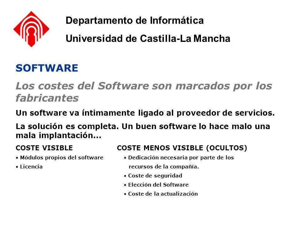 SOFTWARE Los costes del Software son marcados por los fabricantes Un software va íntimamente ligado al proveedor de servicios. La solución es completa