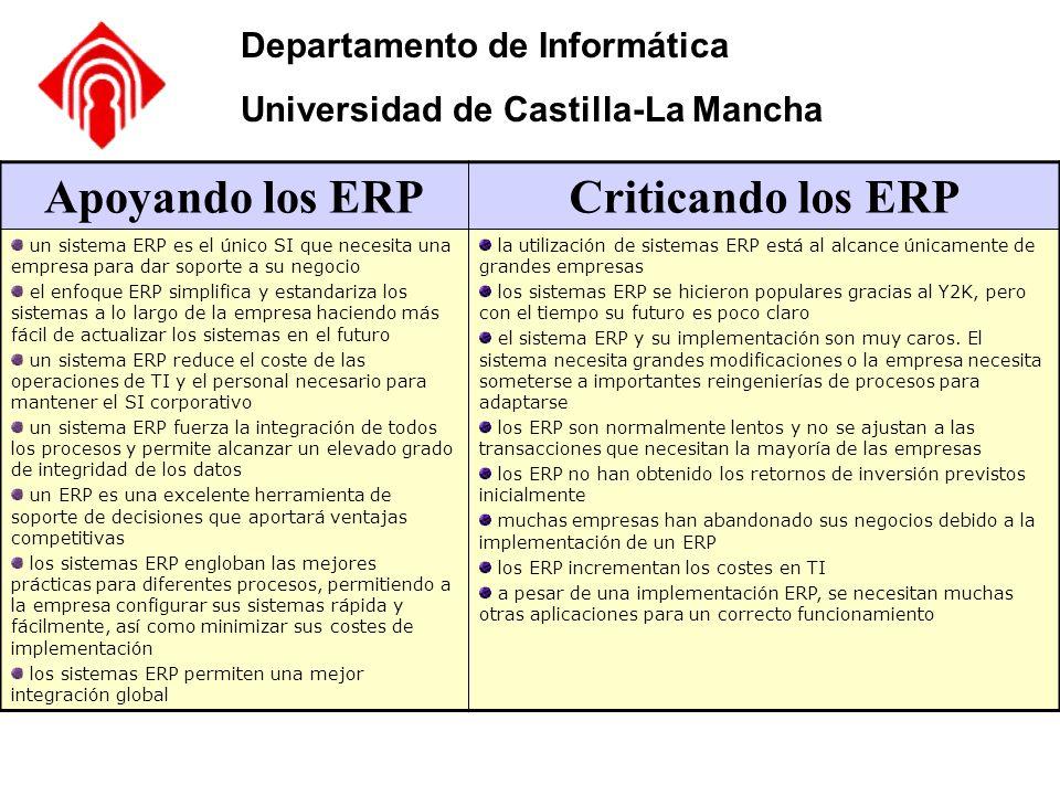 Departamento de Informática Universidad de Castilla-La Mancha Apoyando los ERPCriticando los ERP un sistema ERP es el único SI que necesita una empres