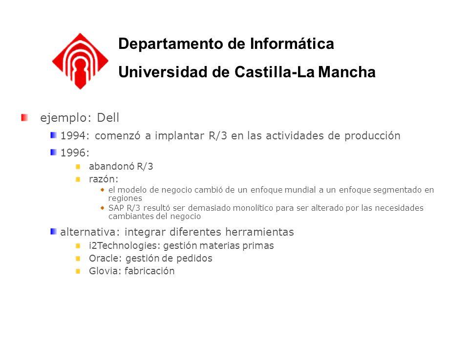 Departamento de Informática Universidad de Castilla-La Mancha ejemplo: Dell 1994: comenzó a implantar R/3 en las actividades de producción 1996: aband