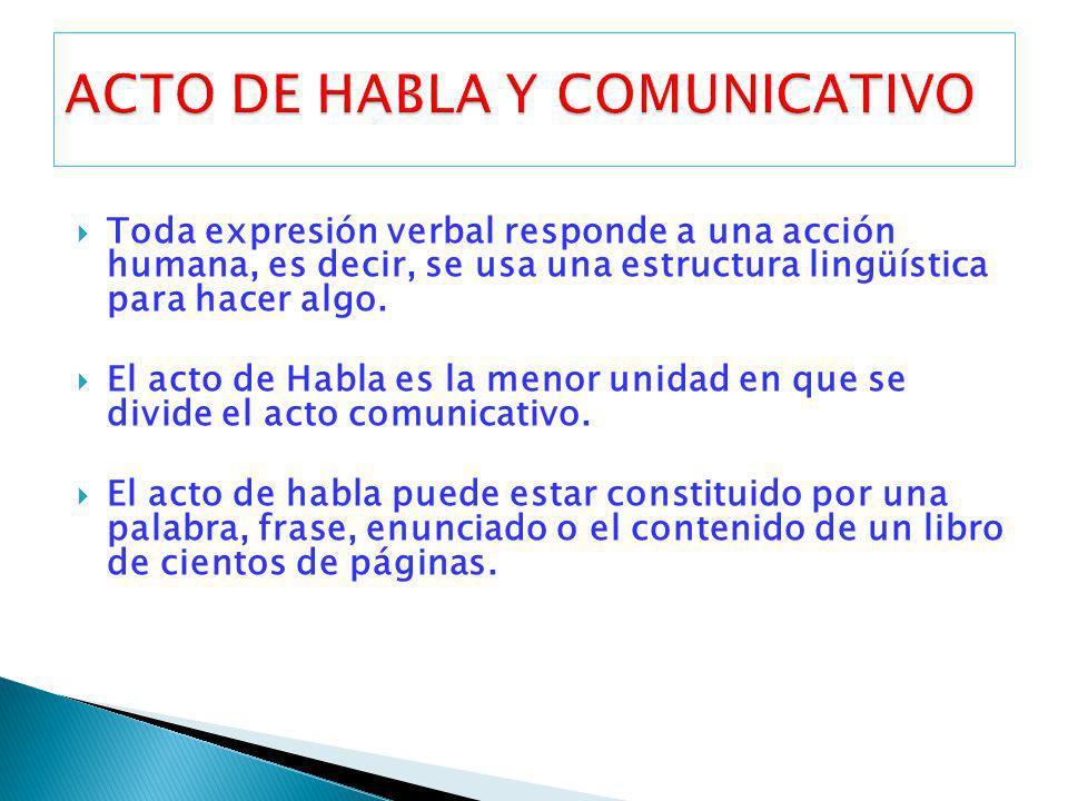 Toda expresión verbal responde a una acción humana, es decir, se usa una estructura lingüística para hacer algo. El acto de Habla es la menor unidad e