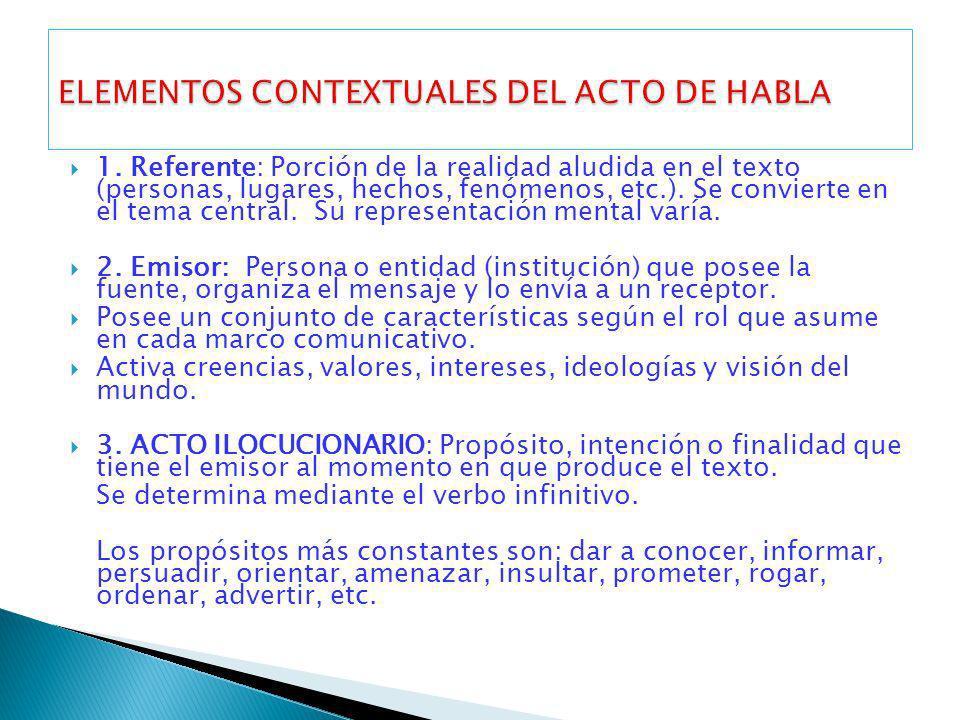 1. Referente: Porción de la realidad aludida en el texto (personas, lugares, hechos, fenómenos, etc.). Se convierte en el tema central. Su representac