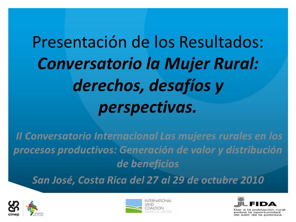 Presentación de los Resultados: Conversatorio la Mujer Rural: derechos, desafíos y perspectivas. II Conversatorio Internacional Las mujeres rurales en
