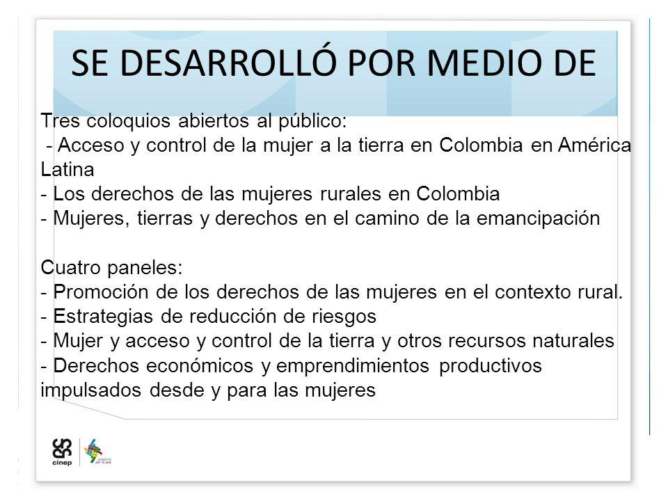 SE DESARROLLÓ POR MEDIO DE Tres coloquios abiertos al público: - Acceso y control de la mujer a la tierra en Colombia en América Latina - Los derechos