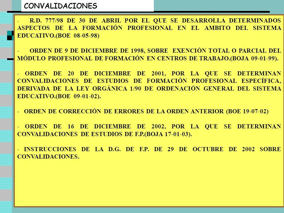 Luis Sanchís - Rafael Martín9 EVALUACIÓN ORDEN DE 26 DE JULIO DE 1995, SOBRE EVALUACIÓN EN LOS CICLOS FORMATIVOS DE FORMACIÓN PROFESIONAL ESPECÍFICA E