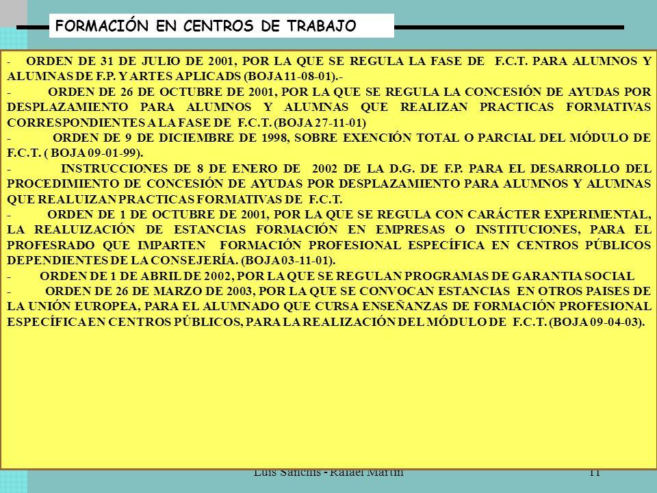 Luis Sanchís - Rafael Martín10 CONVALIDACIONES - R.D. 777/98 DE 30 DE ABRIL POR EL QUE SE DESARROLLA DETERMINADOS ASPECTOS DE LA FORMACIÓN PROFESIONAL