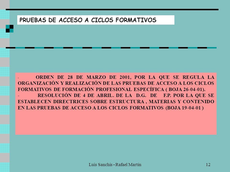 Luis Sanchís - Rafael Martín11 FORMACIÓN EN CENTROS DE TRABAJO - ORDEN DE 31 DE JULIO DE 2001, POR LA QUE SE REGULA LA FASE DE F.C.T. PARA ALUMNOS Y A