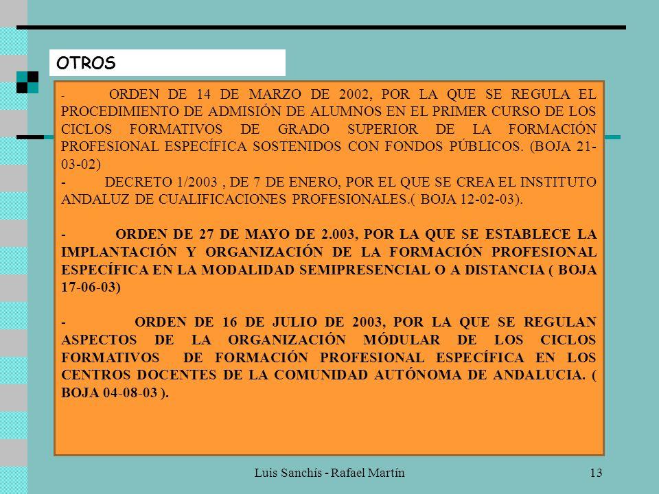 Luis Sanchís - Rafael Martín12 PRUEBAS DE ACCESO A CICLOS FORMATIVOS - ORDEN DE 28 DE MARZO DE 2001, POR LA QUE SE REGULA LA ORGANIZACIÓN Y REALIZACIÓ