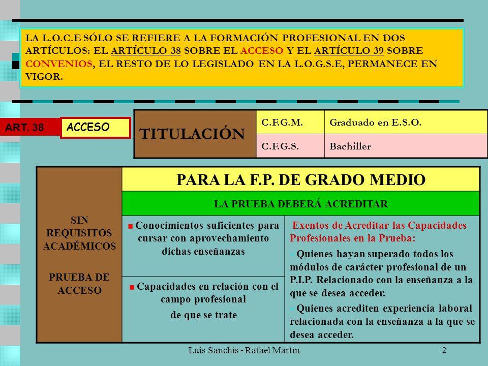 Luis Sanchís - Rafael Martín2 LA L.O.C.E SÓLO SE REFIERE A LA FORMACIÓN PROFESIONAL EN DOS ARTÍCULOS: EL ARTÍCULO 38 SOBRE EL ACCESO Y EL ARTÍCULO 39 SOBRE CONVENIOS, EL RESTO DE LO LEGISLADO EN LA L.O.G.S.E, PERMANECE EN VIGOR.